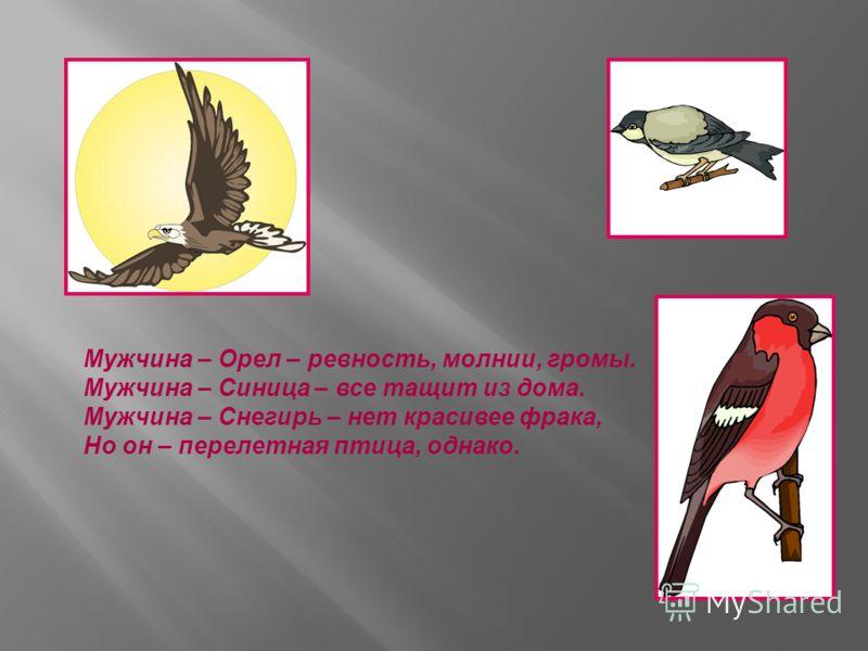 Мужчина – Орел – ревность, молнии, громы. Мужчина – Синица – все тащит из дома. Мужчина – Снегирь – нет красивее фрака, Но он – перелетная птица, однако.