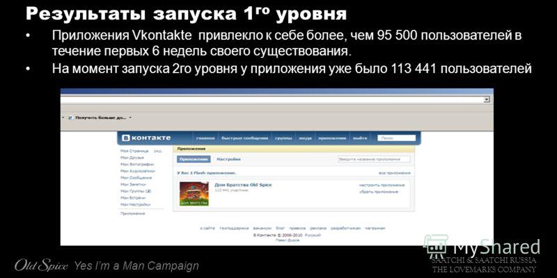 SAATCHI & SAATCHI RUSSIA THE LOVEMARKS COMPANY Yes Im a Man Campaign Результаты запуска 1 го уровня Приложения Vkontakte привлекло к себе более, чем 95 500 пользователей в течение первых 6 недель своего существования. На момент запуска 2го уровня у п