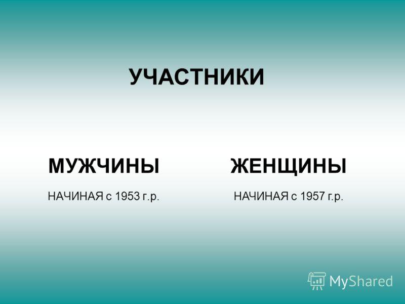 УЧАСТНИКИ МУЖЧИНЫ НАЧИНАЯ с 1953 г.р. ЖЕНЩИНЫ НАЧИНАЯ с 1957 г.р.