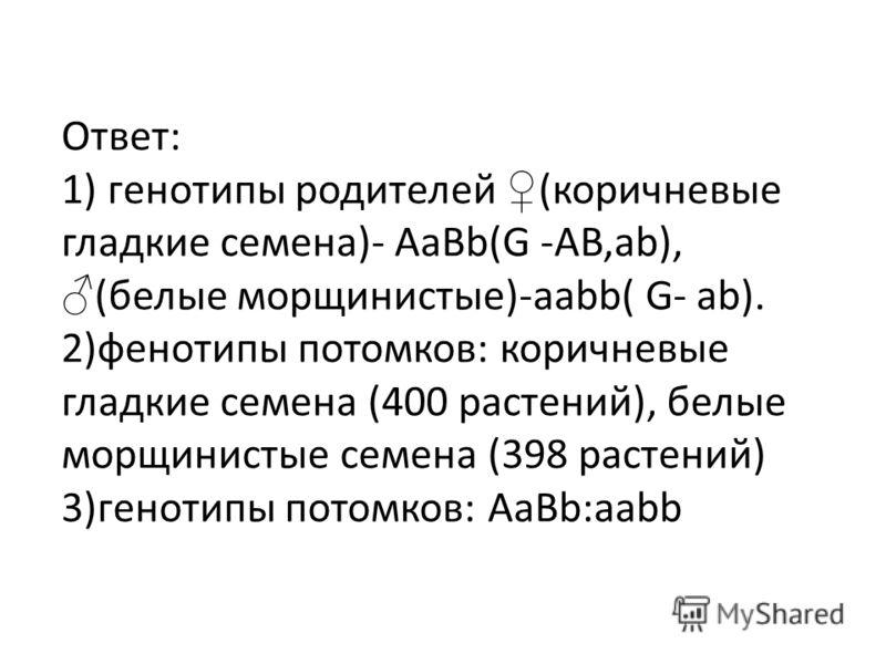 Ответ: 1) генотипы родителей (коричневые гладкие семена)- АаВb(G -AB,ab), (белые морщинистые)-aabb( G- ab). 2)фенотипы потомков: коричневые гладкие семена (400 растений), белые морщинистые семена (398 растений) 3)генотипы потомков: AaBb:aabb