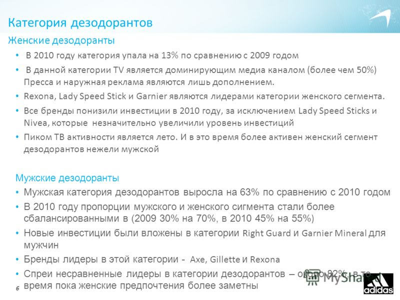 Категория дезодорантов Женские дезодоранты В 2010 году категория упала на 13% по сравнению с 2009 годом В данной категории TV является доминирующим медиа каналом (более чем 50%) Пресса и наружная реклама являются лишь дополнением. Rexona, Lady Speed