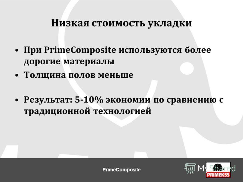 Низкая стоимость укладки При PrimeCompositе используются более дорогие материалы Толщина полов меньше Результат: 5-10% экономии по сравнению с традиционной технологией PrimeComposite