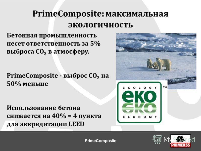 PrimeComposite: максимальная экологичность Бетонная промышленность несет ответственность за 5% выброса СО 2 в атмосферу. PrimeCompositе - выброс СО 2 на 50% меньше Использование бетона снижается на 40% = 4 пункта для аккредитации LEED PrimeComposite