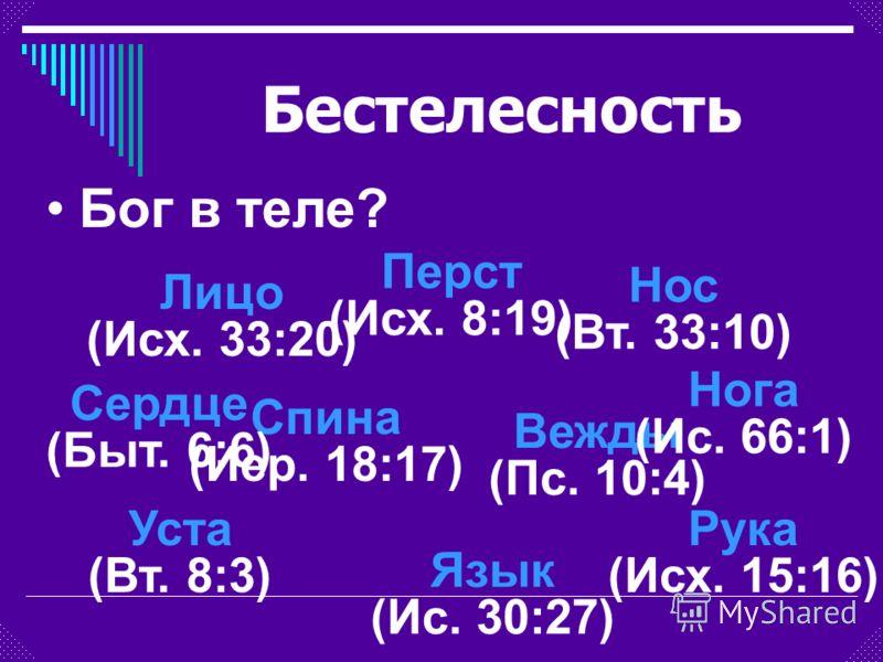 Лицо (Исх. 33:20) Бог в теле? Вежды (Пс. 10:4) Нос (Вт. 33:10) Уста (Вт. 8:3) Язык (Ис. 30:27) Спина (Иер. 18:17) Рука (Исх. 15:16) Перст (Исх. 8:19) Сердце (Быт. 6:6) Нога (Ис. 66:1) Бестелесность