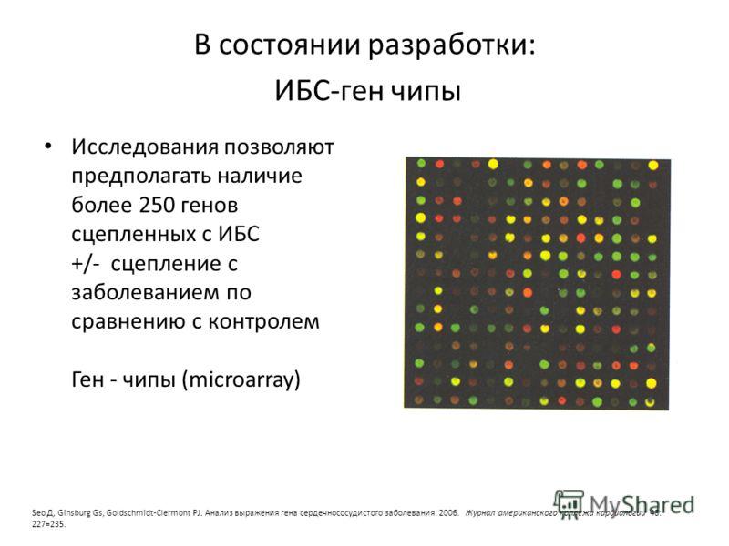 В состоянии разработки: ИБС-ген чипы Исследования позволяют предполагать наличие более 250 генов сцепленных с ИБС +/- сцепление с заболеванием по сравнению с контролем Ген - чипы (microarray) Seo Д, Ginsburg Gs, Goldschmidt-Clermont PJ. Анализ выраже