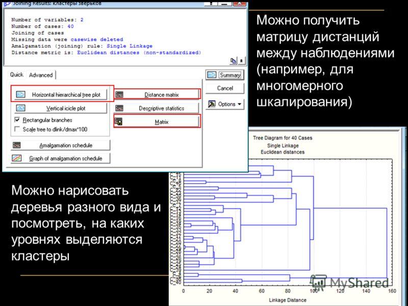 Можно нарисовать деревья разного вида и посмотреть, на каких уровнях выделяются кластеры Можно получить матрицу дистанций между наблюдениями (например, для многомерного шкалирования)