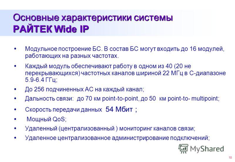 10 Основные характеристики системы РАЙТЕК Wide IP Модульное построение БС. В состав БС могут входить до 16 модулей, работающих на разных частотах. Каждый модуль обеспечивают работу в одном из 40 (20 не перекрывающихся) частотных каналов шириной 22 МГ