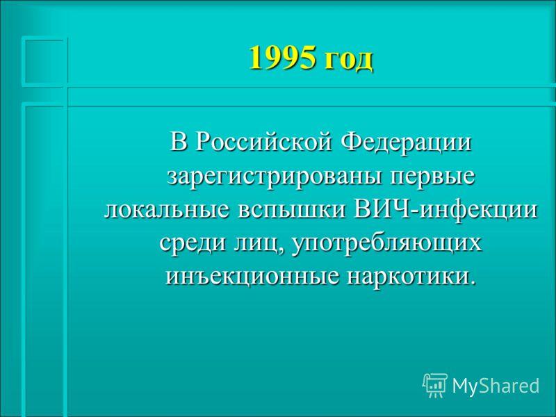 1995 год В Российской Федерации зарегистрированы первые локальные вспышки ВИЧ-инфекции среди лиц, употребляющих инъекционные наркотики.