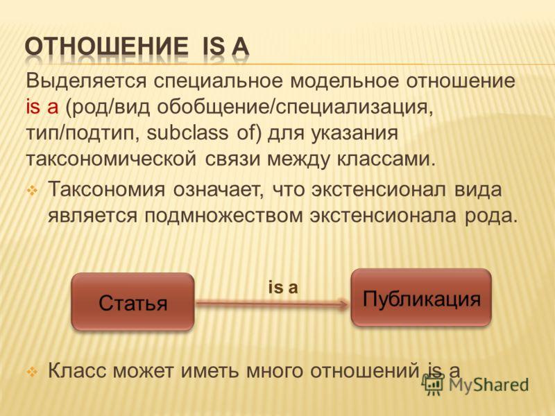 Выделяется специальное модельное отношение is a (род/вид обобщение/специализация, тип/подтип, subclass of) для указания таксономической связи между классами. Таксономия означает, что экстенсионал вида является подмножеством экстенсионала рода. Класс
