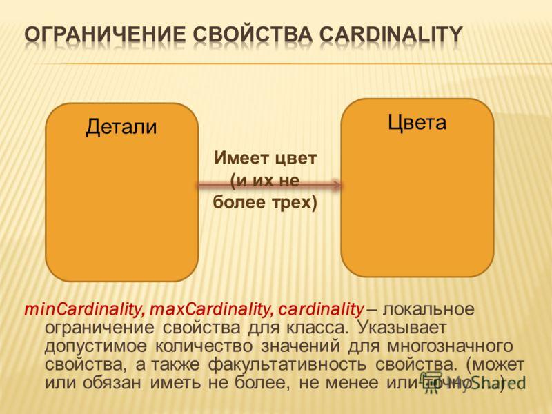 minCardinality, maxCardinality, cardinality – локальное ограничение свойства для класса. Указывает допустимое количество значений для многозначного свойства, а также факультативность свойства. (может или обязан иметь не более, не менее или точно …) Д