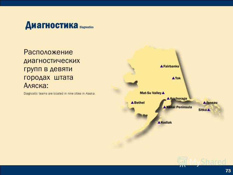 73 Диагностика Diagnostics Расположение диагностических групп в девяти городах штата Аляска: Diagnostic teams are located in nine cities in Alaska.