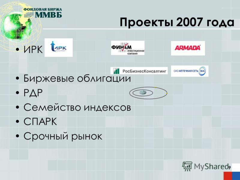 9 Проекты 2007 года ИРК Биржевые облигации РДР Семейство индексов СПАРК Срочный рынок