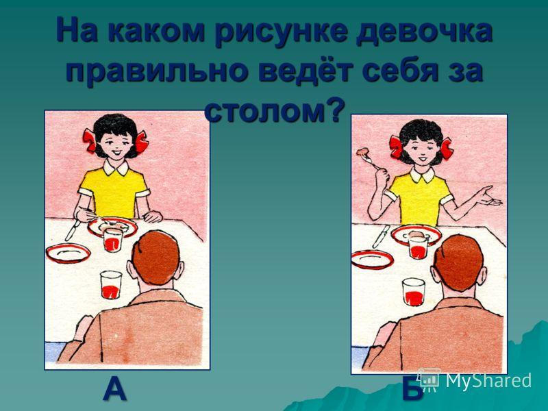 На каком рисунке девочка правильно ведёт себя за столом? АБ