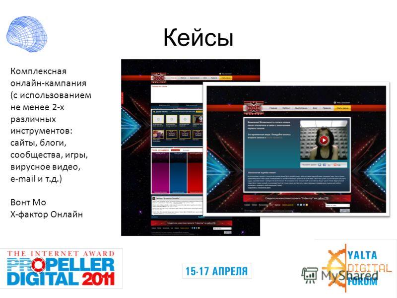 Кейсы Комплексная онлайн-кампания (с использованием не менее 2-х различных инструментов: сайты, блоги, сообщества, игры, вирусное видео, e-mail и т.д.) Вонт Мо Х-фактор Онлайн
