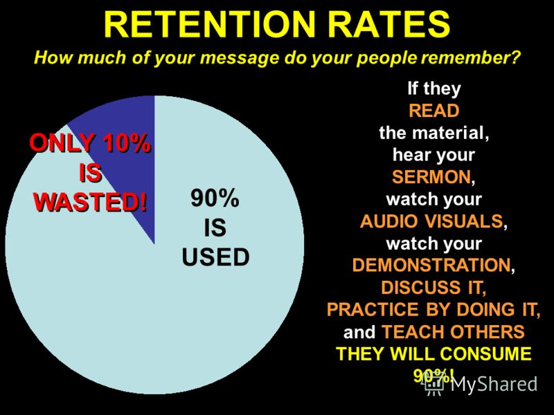 RETENTION RATES How much of your message do your people remember? If they READ the material, hear your SERMON, watch your AUDIO VISUALS, watch your DEMONSTRATION, DISCUSS IT, PRACTICE BY DOING IT, and TEACH OTHERS THEY WILL CONSUME 90%! 90% IS USED O