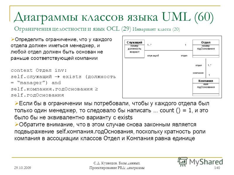 29.10.2009 С.Д. Кузнецов. Базы данных. Проектирование РБД: диаграммы 140 Диаграммы классов языка UML (60) Ограничения целостности и язык OCL (29) Инвариант класса (20) Определить ограничение, что у каждого отдела должен иметься менеджер, и любой отде