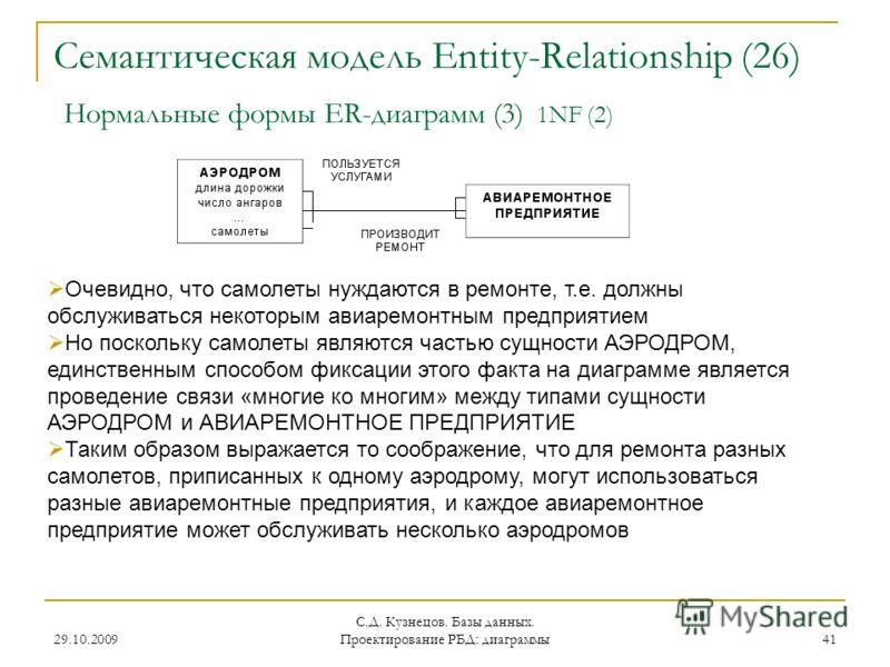 29.10.2009 С.Д. Кузнецов. Базы данных. Проектирование РБД: диаграммы 41 Семантическая модель Entity-Relationship (26) Нормальные формы ER-диаграмм (3) 1NF (2) Очевидно, что самолеты нуждаются в ремонте, т.е. должны обслуживаться некоторым авиаремонтн