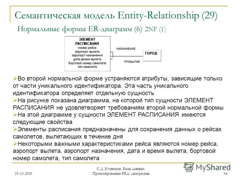 29.10.2009 С.Д. Кузнецов. Базы данных. Проектирование РБД: диаграммы 44 Семантическая модель Entity-Relationship (29) Нормальные формы ER-диаграмм (6) 2NF (1) Во второй нормальной форме устраняются атрибуты, зависящие только от части уникального иден