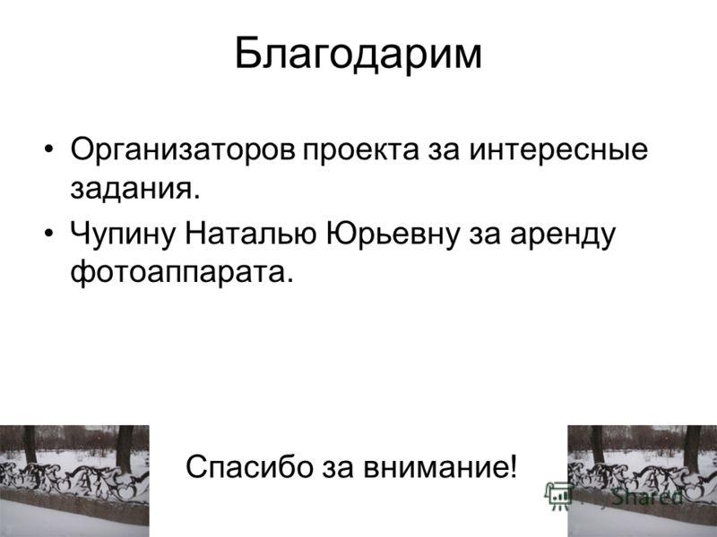 Благодарим Организаторов проекта за интересные задания. Чупину Наталью Юрьевну за аренду фотоаппарата. Спасибо за внимание!