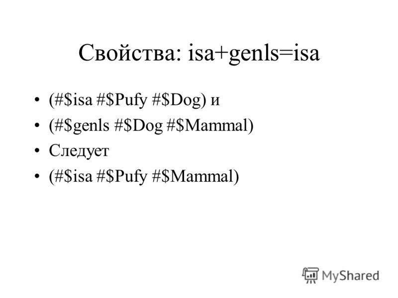 Свойства: isa+genls=isa (#$isa #$Pufy #$Dog) и (#$genls #$Dog #$Mammal) Следует (#$isa #$Pufy #$Mammal)