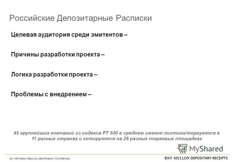 Information Security Identification: Confidential 24 Российские Депозитарные Расписки Целевая аудитория среди эмитентов – Причины разработки проекта – Логика разработки проекта – Проблемы с внедрением – 45 крупнейших компаний из индекса FT 500 в сред