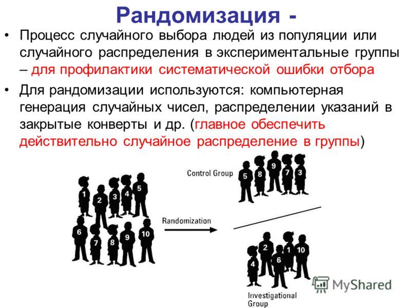Рандомизация - Процесс случайного выбора людей из популяции или случайного распределения в экспериментальные группы – для профилактики систематической ошибки отбора Для рандомизации используются: компьютерная генерация случайных чисел, распределении