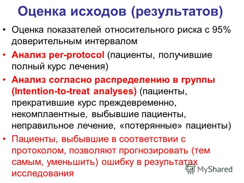 Оценка исходов (результатов) Оценка показателей относительного риска с 95% доверительным интервалом Анализ per-protocol (пациенты, получившие полный курс лечения) Анализ согласно распределению в группы (Intention-to-treat analyses) (пациенты, прекрат