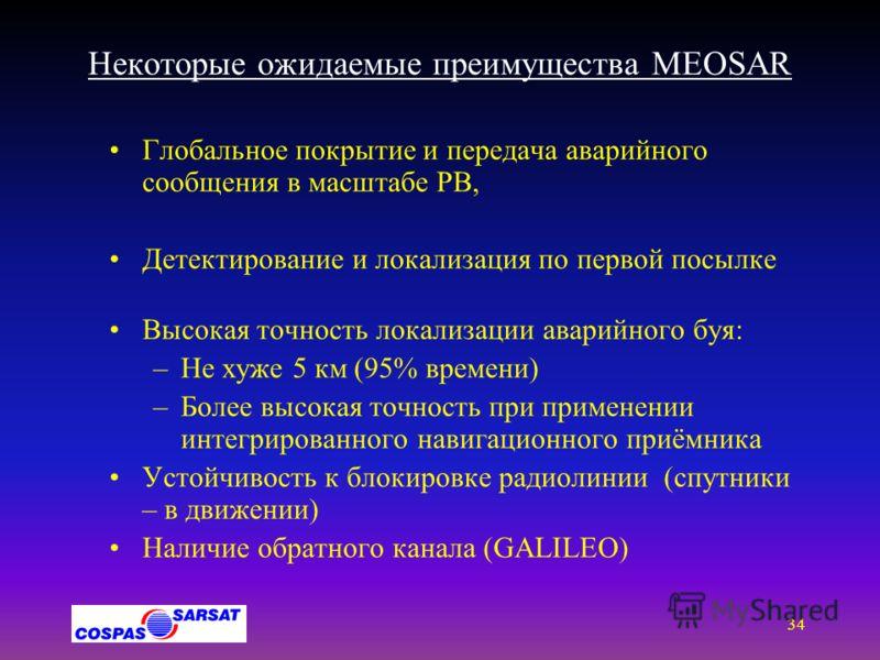 33 Предварительный план-график реализации СССПС ( MEOSAR) DASS Space Segment SAR/Glonass Space Segment SAR/Galileo Space Segment C/S 406 MHz MEOSAR System Implemen- -tation 02 03 04 05 06 07 08 09 10 11 12 13 14 15 16 17 18 19 GPS BLK II-R (S Band) x