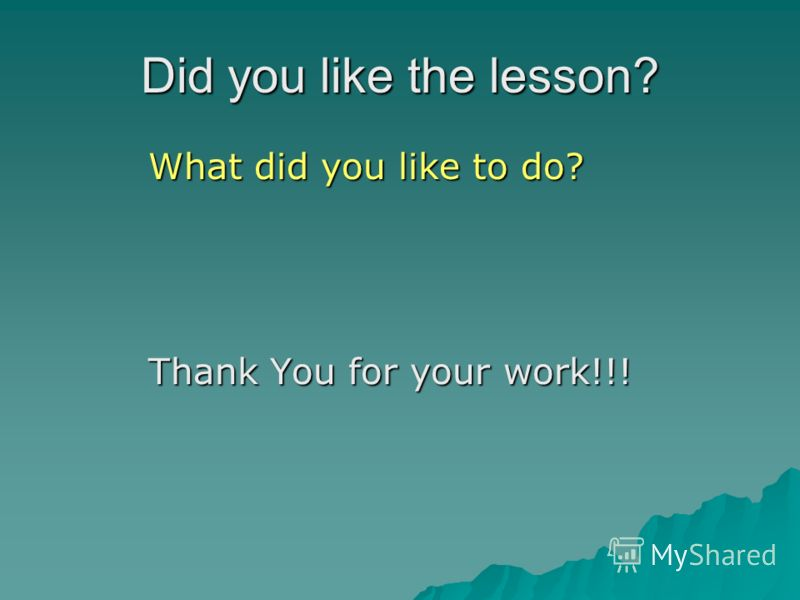 Did you like the lesson? What did you like to do? What did you like to do? Thank You for your work!!! Thank You for your work!!!