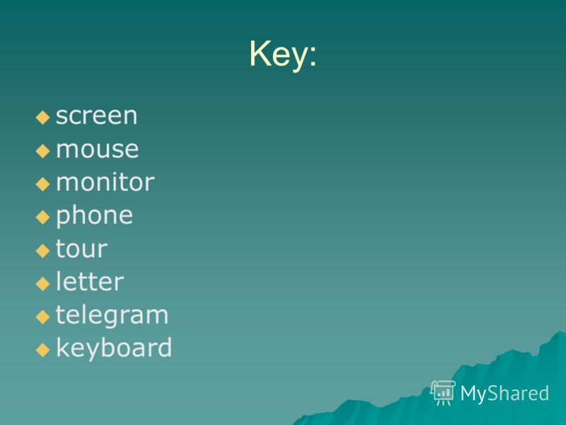 Key: screen mouse monitor phone tour letter telegram keyboard