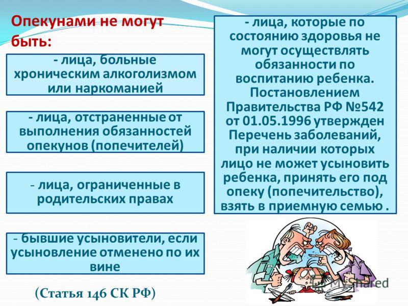 (Статья 146 СК РФ) Опекунами не могут быть: - лица, больные хроническим алкоголизмом или наркоманией - лица, отстраненные от выполнения обязанностей опекунов (попечителей) - лица, ограниченные в родительских правах - бывшие усыновители, если усыновле