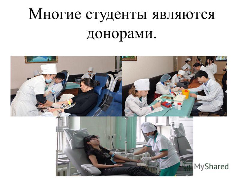Многие студенты являются донорами.