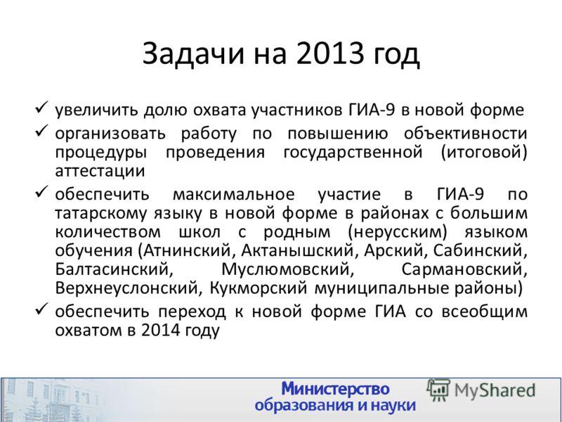 Задачи на 2013 год увеличить долю охвата участников ГИА-9 в новой форме организовать работу по повышению объективности процедуры проведения государственной (итоговой) аттестации обеспечить максимальное участие в ГИА-9 по татарскому языку в новой форм