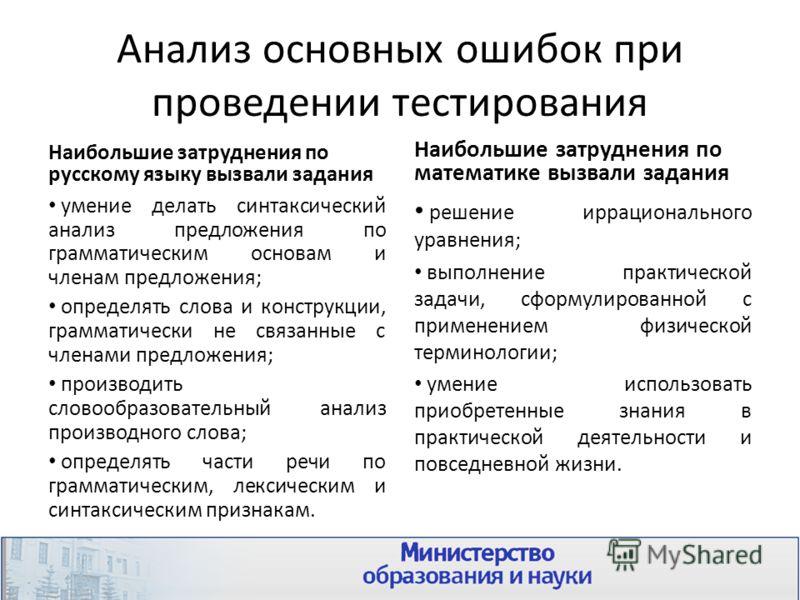 Анализ основных ошибок при проведении тестирования Наибольшие затруднения по русскому языку вызвали задания умение делать синтаксический анализ предложения по грамматическим основам и членам предложения; определять слова и конструкции, грамматически