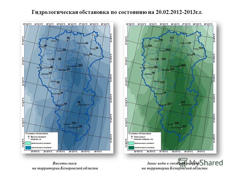 Гидрологическая обстановка по состоянию на 20.02.2012-2013г.г. Высота снега на территории Кемеровской области Запас воды в снежном покрове на территории Кемеровской области