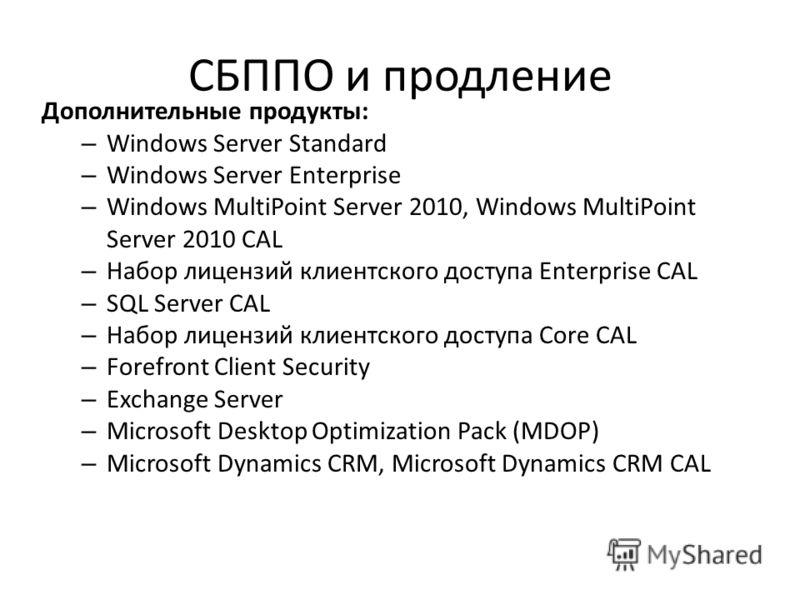 СБППО и продление Дополнительные продукты: – Windows Server Standard – Windows Server Enterprise – Windows MultiPoint Server 2010, Windows MultiPoint Server 2010 CAL – Набор лицензий клиентского доступа Enterprise CAL – SQL Server CAL – Набор лицензи