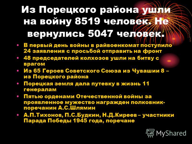 Из Порецкого района ушли на войну 8519 человек. Не вернулись 5047 человек. В первый день войны в райвоенкомат поступило 24 заявления с просьбой отправить на фронт 48 председателей колхозов ушли на битву с врагом Из 65 Героев Советского Союза из Чуваш