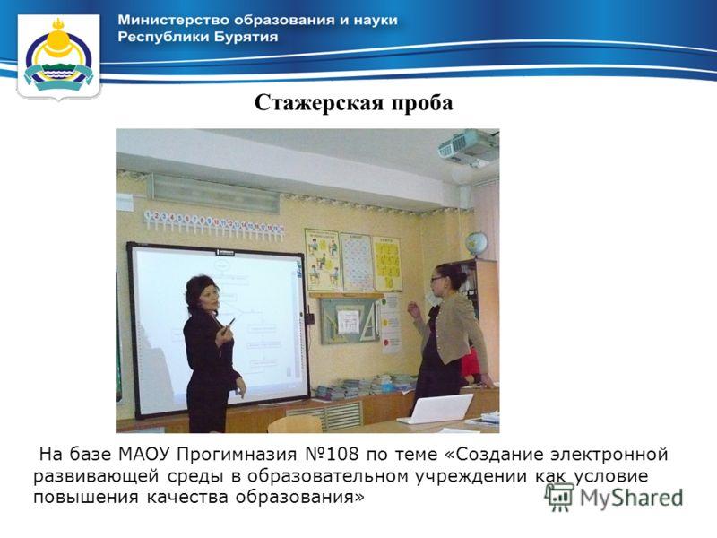 Стажерская проба На базе МАОУ Прогимназия 108 по теме «Создание электронной развивающей среды в образовательном учреждении как условие повышения качества образования»