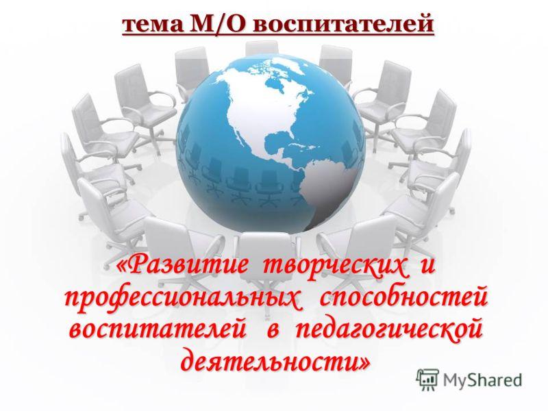 тема М/О воспитателей «Развитие творческих и профессиональных способностей воспитателей в педагогической деятельности»