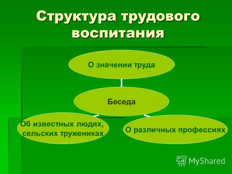 Структура трудового воспитания Беседа О значении труда О различных профессиях Об известных людях, сельских тружениках