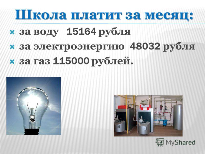 Школа платит за месяц: за воду 15164 рубля за электроэнергию 48032 рубля за газ 115000 рублей.