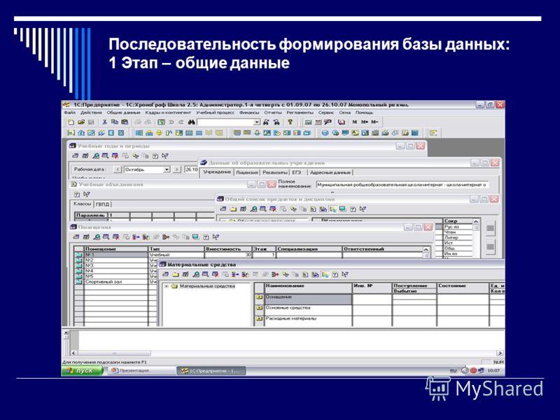 Последовательность формирования базы данных: 1 Этап – общие данные