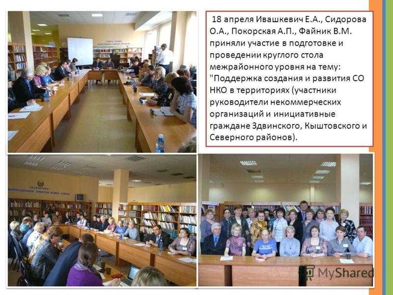18 апреля Ивашкевич Е.А., Сидорова О.А., Покорская А.П., Файник В.М. приняли участие в подготовке и проведении круглого стола межрайонного уровня на тему: