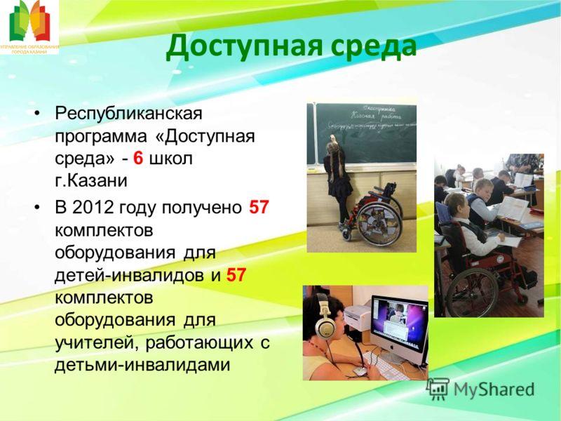 Доступная среда Республиканская программа «Доступная среда» - 6 школ г.Казани В 2012 году получено 57 комплектов оборудования для детей-инвалидов и 57 комплектов оборудования для учителей, работающих с детьми-инвалидами