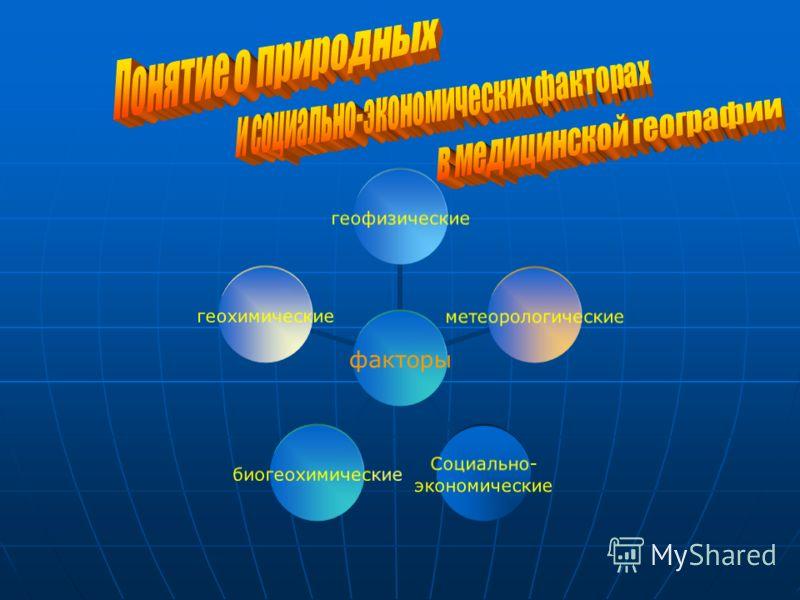 факторы геофизическиеметеорологические Социально- экономические биогеохимическиегеохимические