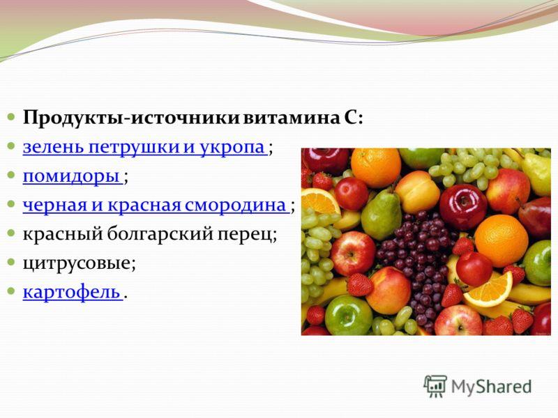 Продукты-источники витамина С: зелень петрушки и укропа ; зелень петрушки и укропа помидоры ; помидоры черная и красная смородина ; черная и красная смородина красный болгарский перец; цитрусовые; картофель. картофель