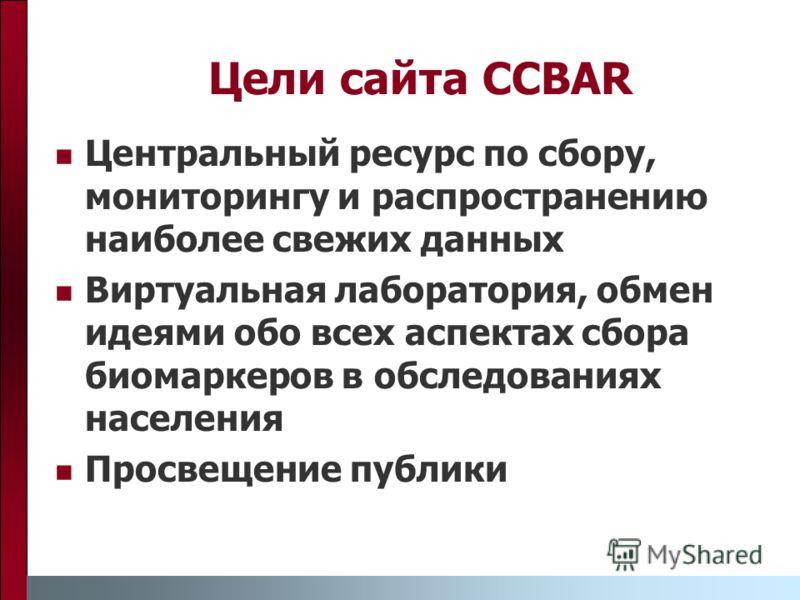 Цели сайта CCBAR Центральный ресурс по сбору, мониторингу и распространению наиболее свежих данных Виртуальная лаборатория, обмен идеями обо всех аспектах сбора биомаркеров в обследованиях населения Просвещение публики