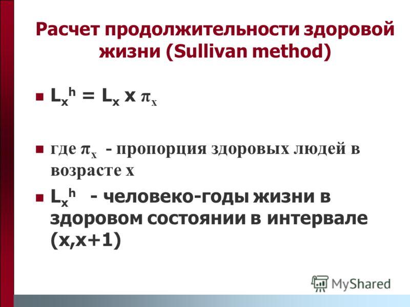Расчет продолжительности здоровой жизни (Sullivan method) L x h = L x x π x где π x - пропорция здоровых людей в возрасте x L x h - человеко-годы жизни в здоровом состоянии в интервале (x,x+1)