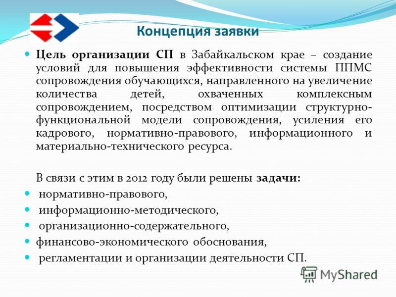 Концепция заявки Цель организации СП в Забайкальском крае – создание условий для повышения эффективности системы ППМС сопровождения обучающихся, направленного на увеличение количества детей, охваченных комплексным сопровождением, посредством оптимиза