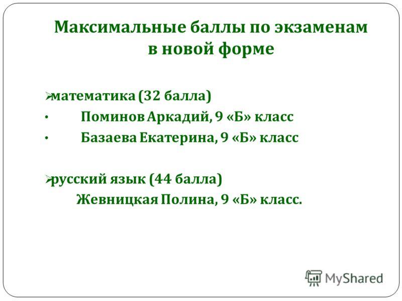 Максимальные баллы по экзаменам в новой форме математика (32 балла ) Поминов Аркадий, 9 « Б » класс Базаева Екатерина, 9 « Б » класс русский язык (44 балла ) Жевницкая Полина, 9 « Б » класс.
